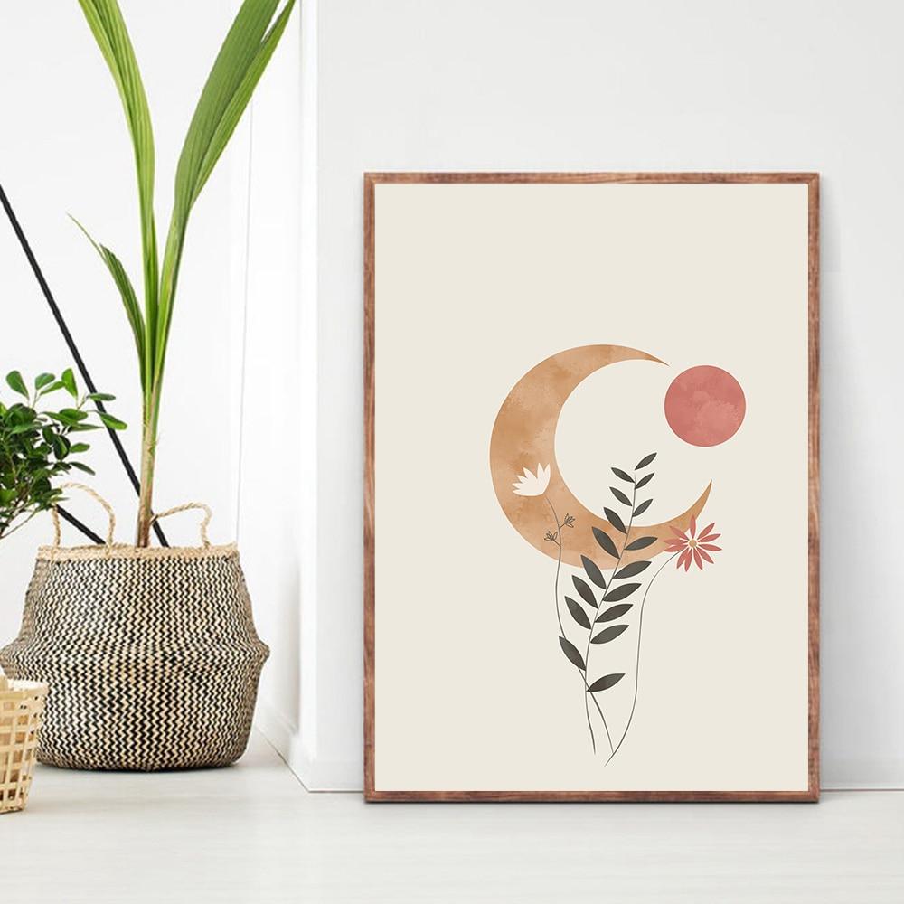 Lienzo abstracto bohemio con diseño de Luna y sol, pinturas en póster, impresiones naranjas, flores minimalistas, imágenes artísticas para pared, decoración del hogar para dormitorio