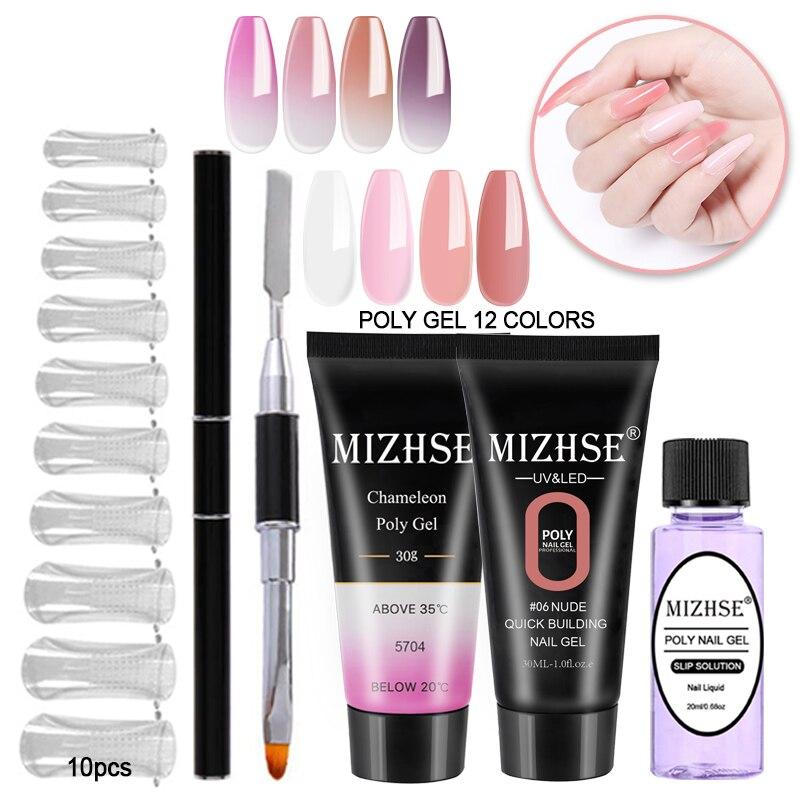 MIZHSE Gel Polish Set Acrylic Poly Gel Pink White Clear Crystal UV LED Builder Gel Jelly Poly Gel Acrylic Slip Solutions