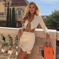 2021 summer two piece female solid color long sleeved tie cardigan high waist bag hip skirt casual suit