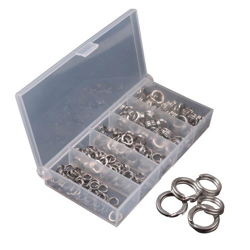 200 pcs/lot 4mm-9mm anneau fendu en acier inoxydable anneaux de pêche assortis pour leurres vierges appâts durs