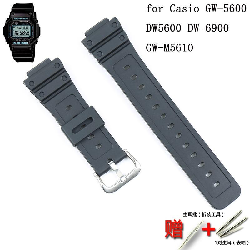 Hebilla de correa de silicona para hombre para Casio G-SHOCK serie de correa de resina GW-5600 DW5600 DW-6900 GW-M5610 Correa deportiva de goma 16mm