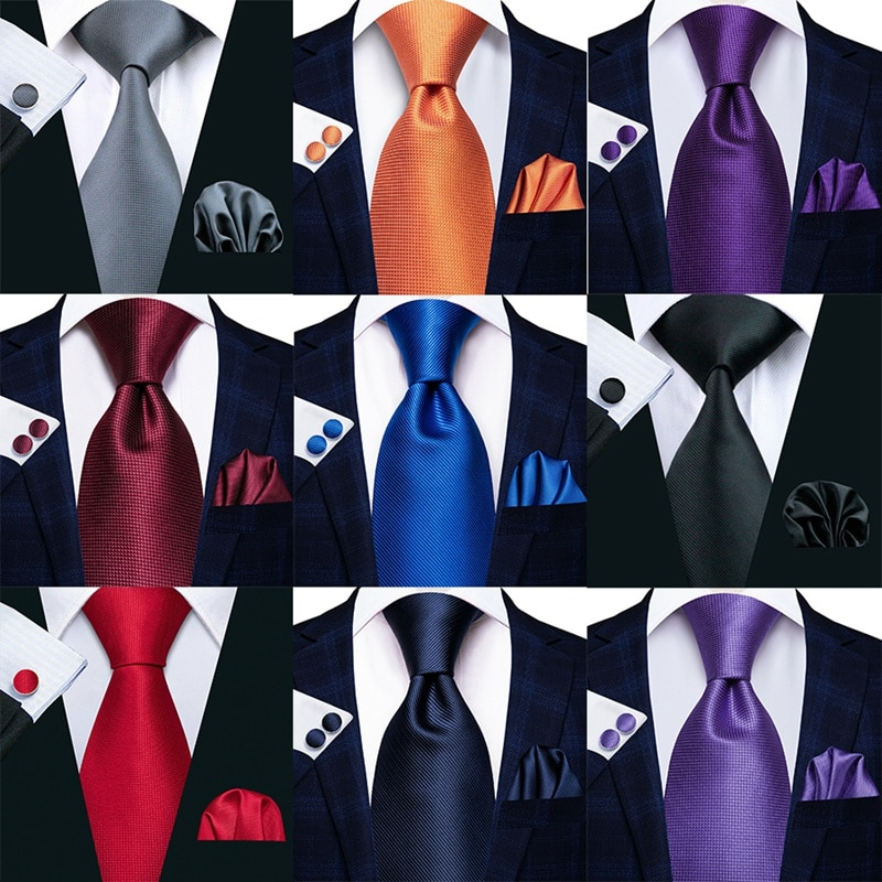 Mens Tie Handkerchief Necktie Cufflinks Set Fashion Black Ties for Men Cravat Party Man Gift Wedding Dress Accessories Wholesale недорого