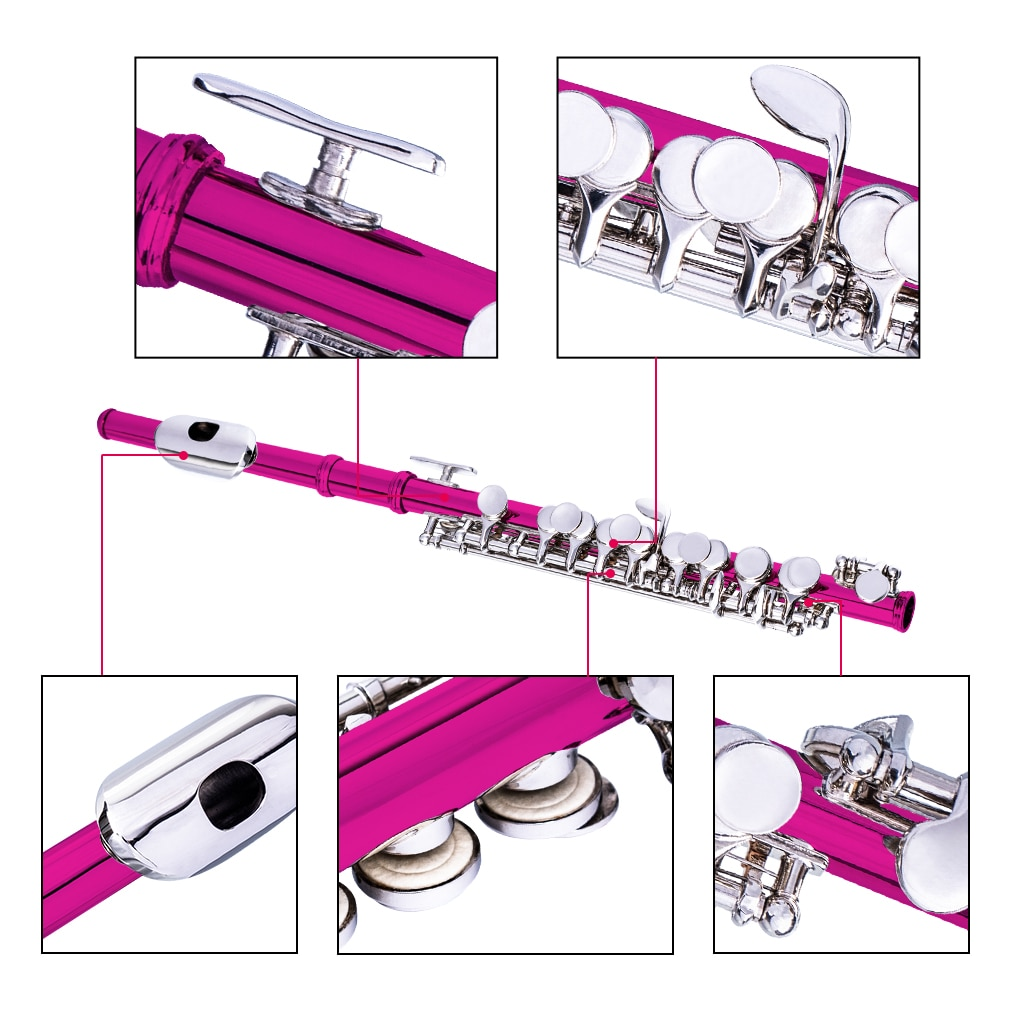 NAOMI Excellent Nickel Plated C Key Piccolo Rose Red Color W/ Case Cleaning Rod And Cloth And Gloves Cupronickel Piccolo Set enlarge