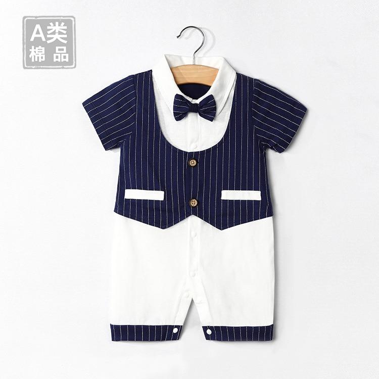 2021 British thin baby clothes pure cotton simple summer gentleman BABY BODYSUIT