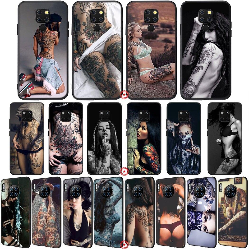 Y67 Sexy Tattoo Girl Soft Silicone Phone Case for Huawei Mate 30 20 10 Lite Pro P10 Nova 2 Lite 2i