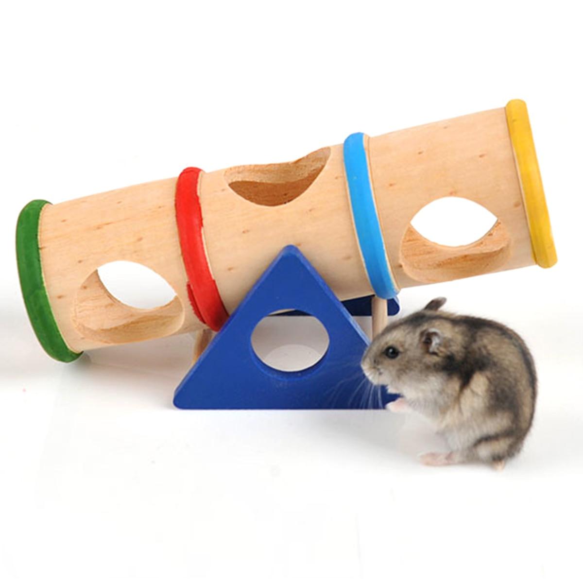 Hamster brinquedos de madeira para cima balde hamster seeaw túnel tubo pequeno animal estimação brinquedo de madeira mastigar brinquedo para coelho furão