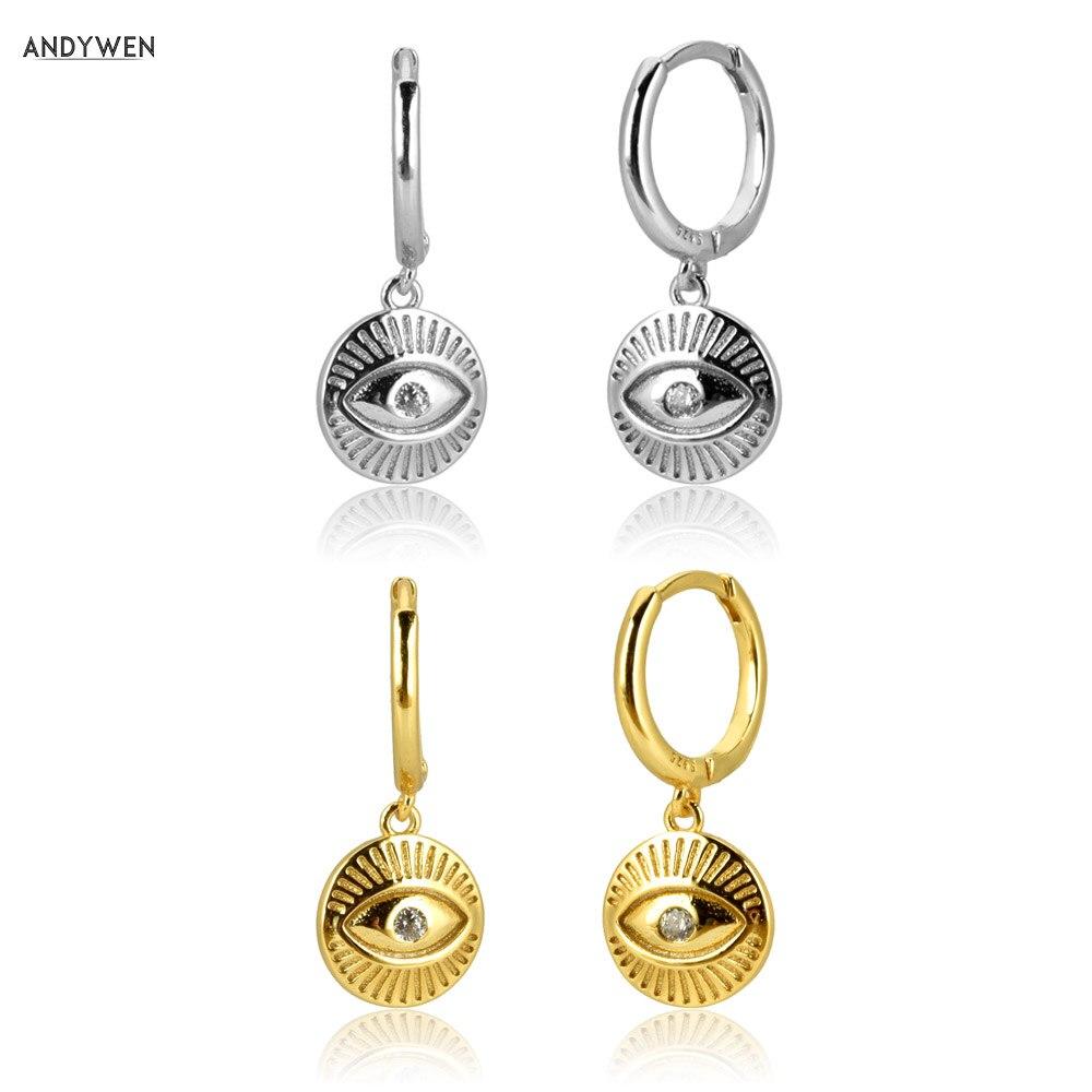 Kikichicc Europäischen 925 Sterling Silber Gold Münzen Luck Augen Tropfen Ohrring Pendiente Piercing Ohrringe 2020 Feine One Zirkon Juwelen
