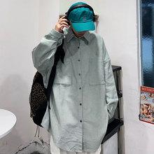 Corduroy Japanese Brand Harajuku Hongkong Style Loose Bf Casual Long Sleeve Shirt Coat Men and Women