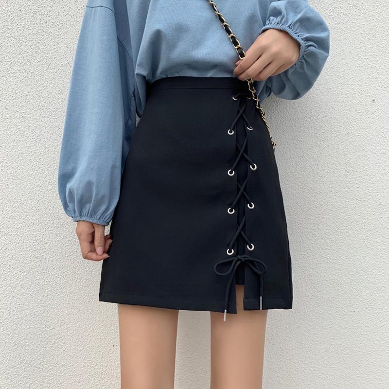 Tie Skirt High Waist Anti-glare A-line Skirt Slim Skirt For Women