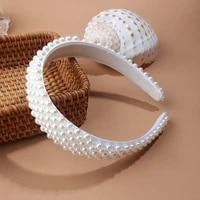 jjfoucs pearl headband for women wedding bridal hair accessories handmade wide hair hoop girls headwear wedding 2019 jewelry