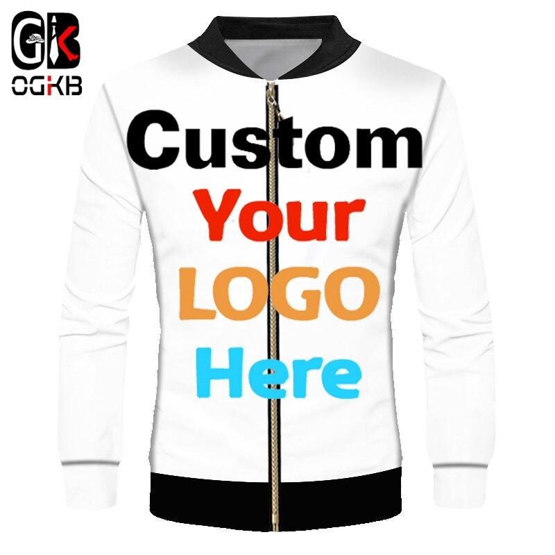 Chaqueta rompevientos personalizada OGKB DIY imprime tu propio diseño LOGO fotos 3D cremallera abrigo chaquetas prendas de abrigo Drop Shipper mayorista