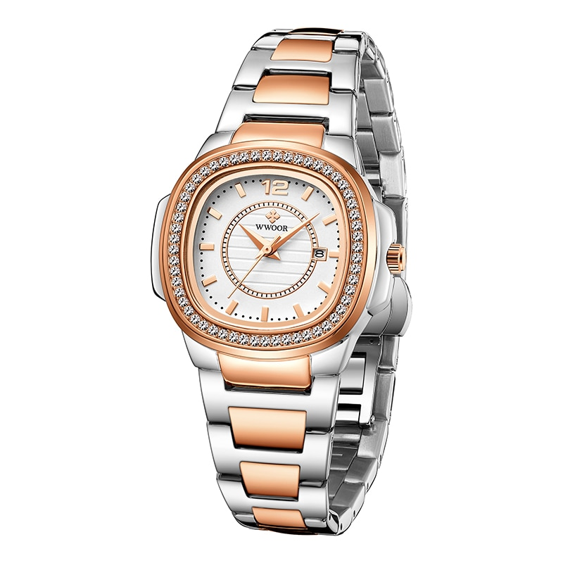 2021 WWOOR Brand  Rose Gold Watches Women Fashion Diamond Ladies Quartz Wrist Watch Female Stainless Steel Waterproof Date Clock enlarge