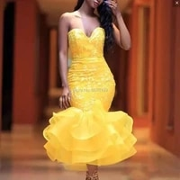 9141yellow hot sale sweetheart mermaidtrumpet tea length laceorganza cocktail dressesformal gowns cascade skirt free shipping