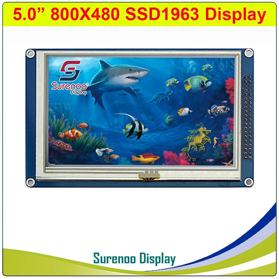 "5,0 ""5"" pulgadas 800*480 SSD1963 TFT resistiva módulo táctil LCD Panel de pantalla con PCB adaptador para STM32/51/AVR"