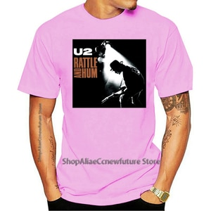 2021 Leisure Fashion Large T-shirt 100% Cotton U2 RATTLE AND HUM THE EDGE BONO Officially Men Mens