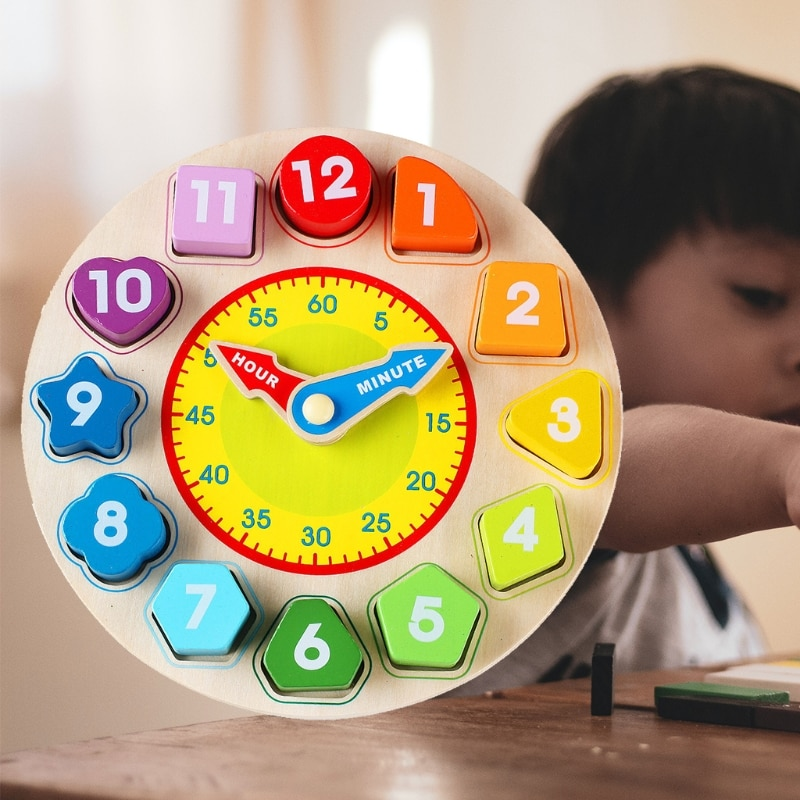 Wooden Shape Color Sorting Clock – Teaching Time Number Blocks Puzzle Stacking H055