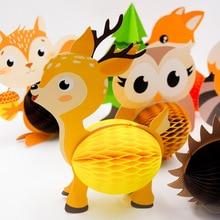8 pièces/ensemble 3D dessin animé Animal nid dabeille boule papier fleurs enfants fête danniversaire gâteau décor Invitations fête décoration fournitures