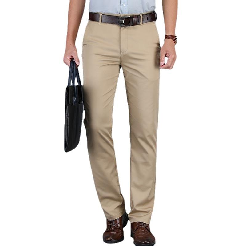 Модные высококачественные хлопковые мужские прямые брюки, летние длинные мужские классические деловые повседневные длинные бриджи