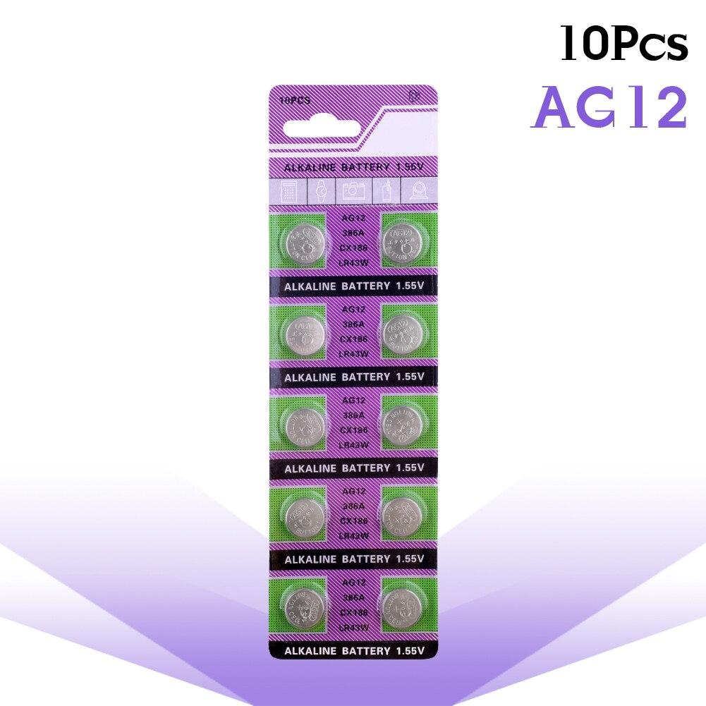 10Psc AG12 Taste Batterien Für Uhr 1,55 V 386 SR43 Münze Zelle Alkaline Batterie V12GA für Spielzeug Rechner Remote 186 SR1142 LR43