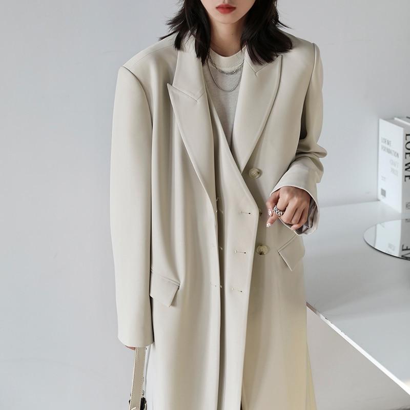 2021 Early Autumn Coat New Temperament Double Placket Long Loose Suit Knee Length Windbreaker Women