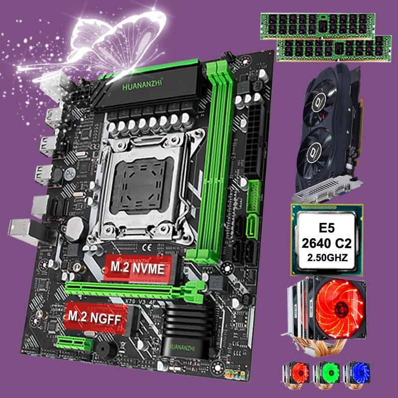 HUANANZHI X79-6M اللوحة الإعداد المزدوج M.2 فتحة وحدة المعالجة المركزية إنتل سيون E5 2640 مع برودة ذاكرة الوصول العشوائي 32G(2*16G) RECC بطاقة الفيديو GTX750TI 2G