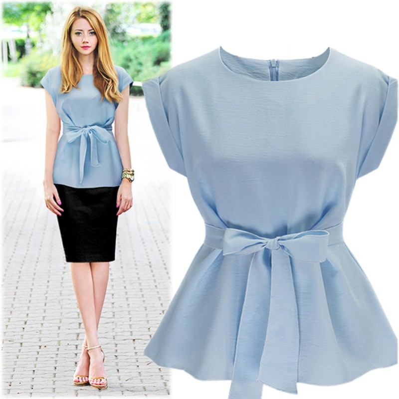 ROPALIA mujeres moda camisas o-cuello sin mangas Belted Peplum blusa elegante Chic verano camiseta sin mangas Femme Chemise alta calidad hc