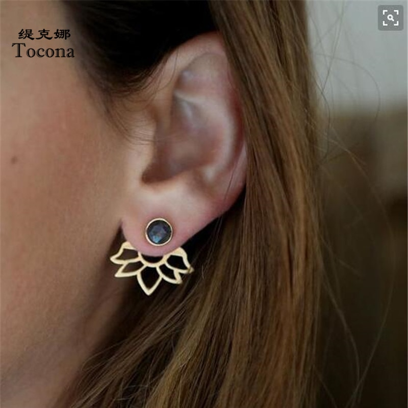 Tocona na moda brincos de pedra natural ouro prata cor liga brincos de pico jaqueta orelha clipe brincos para mulher 5172