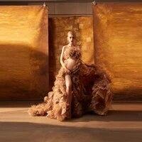 modern brown 3d handmade flowers organza tulle dress gowns women for photo shoot front high slit ruffled long train dress