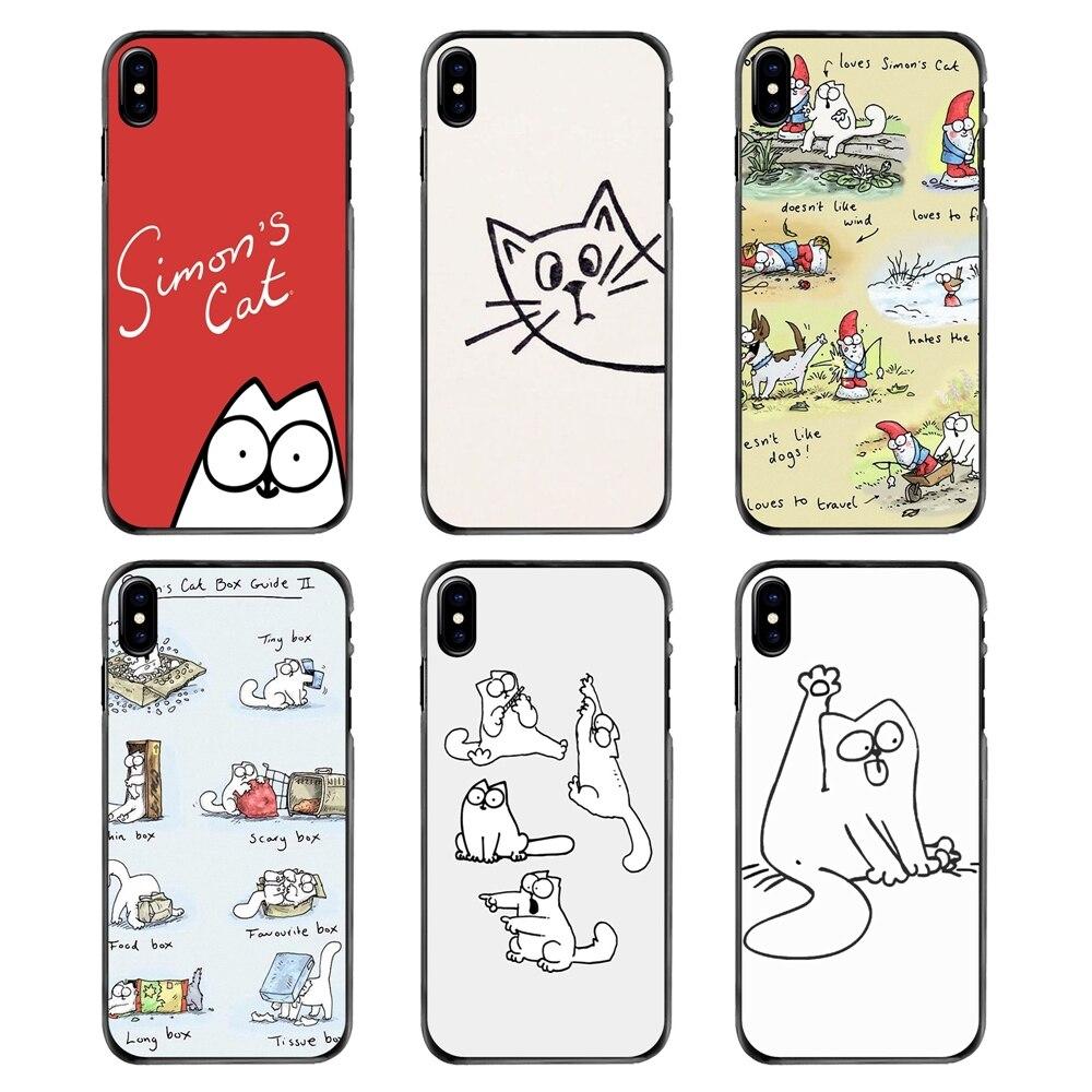 Accesorios de la cubierta de la cáscara del teléfono Simons gato lindo anime para iPhone 4 4S 5 5S 5C SE 6 6S 7 7 Plus X XR XS Max el iPod Touch 4 5 6