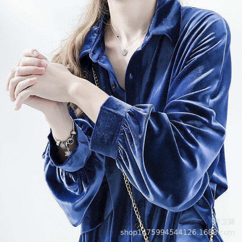 Blusas de terciopelo camisa brillante de pana doble bolsillos suelta manga larga linterna cuello vuelto Rebeca OL Blusas Mujer