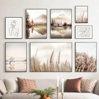 Affiche de toile dart mural de paysage nordique moderne  impression de decor artistique pour la maison  Design de salon