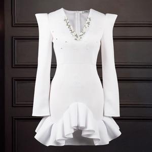 White Banquet Beaded Dress Women Bodycon V Neck Long Sleeve Mini Belt Slim Party Dresses Wedding Birthday Date Out Christmas New