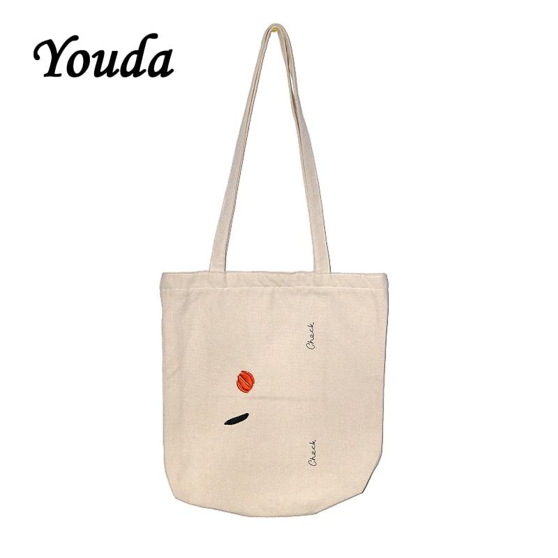 Bolsos de mano Youda Korea Harajuku, bolsas ecológicas de lona bordadas, bandolera de hombro Original portátil, bolso de mano