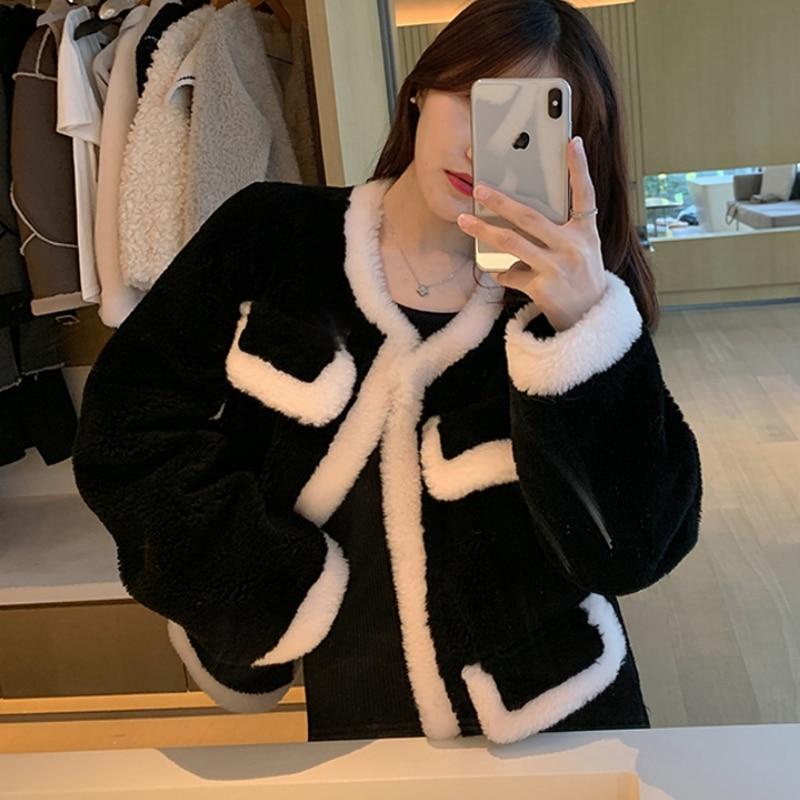 Теплая Женская куртка-бомбер из искусственного меха с овечьими овчинами, куртка-бомбер, ароматный черный и белый кардиган, укороченные топы...
