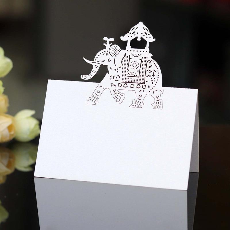 Año 2020 Tarjeta de asiento Elefante Dorado reunión Hollow Out Tarjeta de la Mesa Tarjeta de láser Creative Seating Card banquete postal 100 Uds 6Z