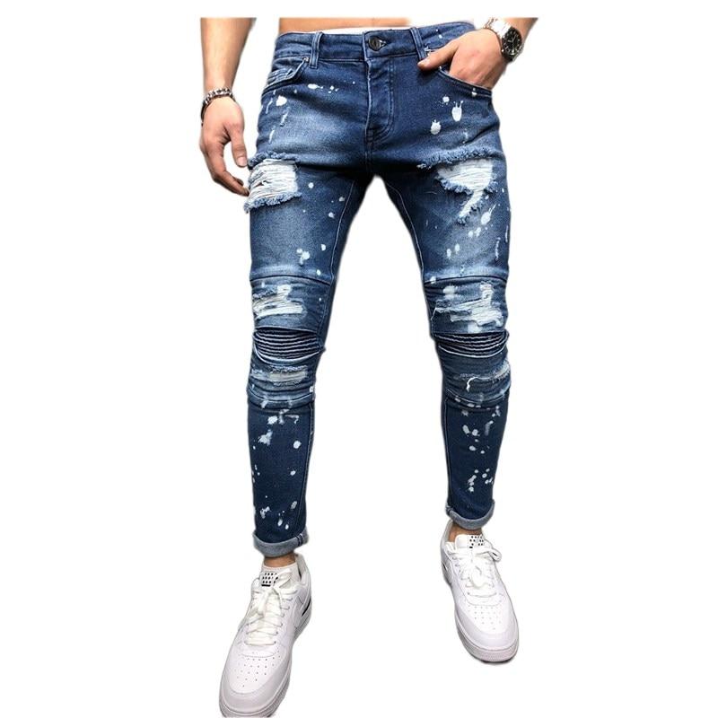 Мужские рваные джинсы с градиентом 2020, мужские повседневные зауженные джинсы, узкие джинсы, Мужские брендовые байкерские джинсы в стиле хип...