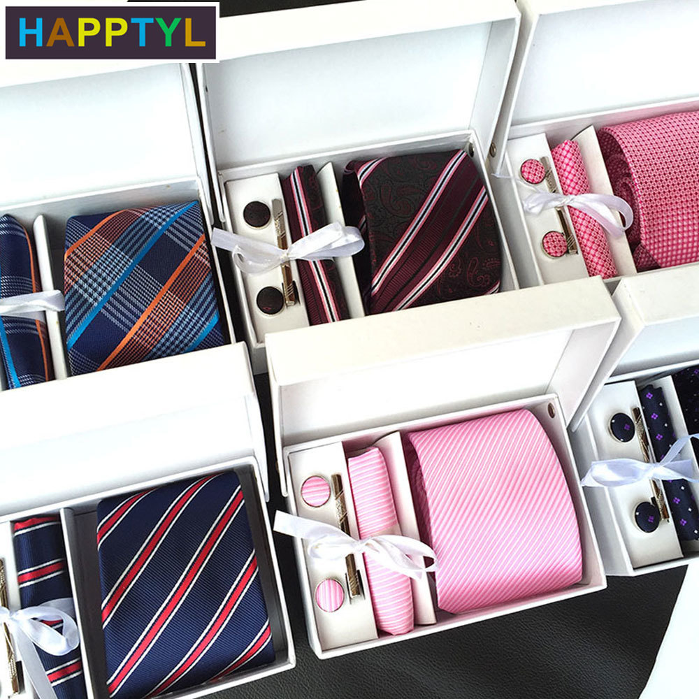 HAPPTYL 5Pcs/Set Men's Tie Pocket Square Set with Cuff Links and Tie Clip in Gift - Best Gift for Wedding Business Party