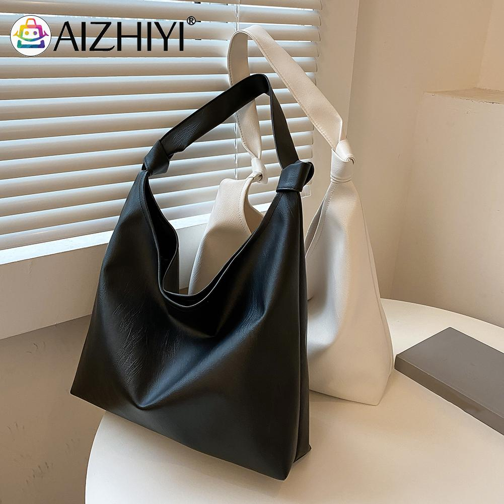 Vintage Women PU Leather Shoulder Shopping Bag Casual Ladies Solid Color Large Capacity Tote Handbags aa women fashionable solid color portable crossboby bag pu leather casual style small shoulder bag for ladies daily shopping bag