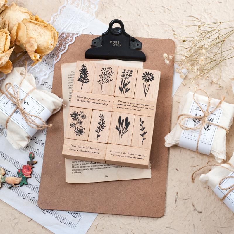 3 unids/set Vintage flores planta proverbio sello DIY sellos de goma de madera para Scrapbooking papelería Scrapbooking sello estándar