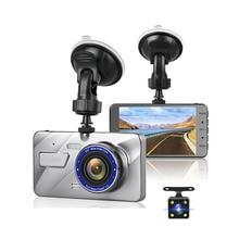 Olysine 4 pulgadas Full HD 1080P coche DVR Cámara lente Dual cámara de salpicadero IPS pantalla Conducción Video grabadora Dashcam Auto registrador