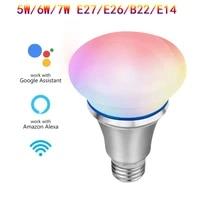 Commutateur WiFi intelligent 5W 6W 7W E27 B22 E14 E26 RGB lumiere lampe de maison intelligente travail avec Alexa Google Assistant Google domotique