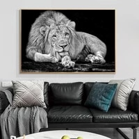 black white african wild lions canvas posters and prints animals canvas paintings on the wall art pictures for living room decor