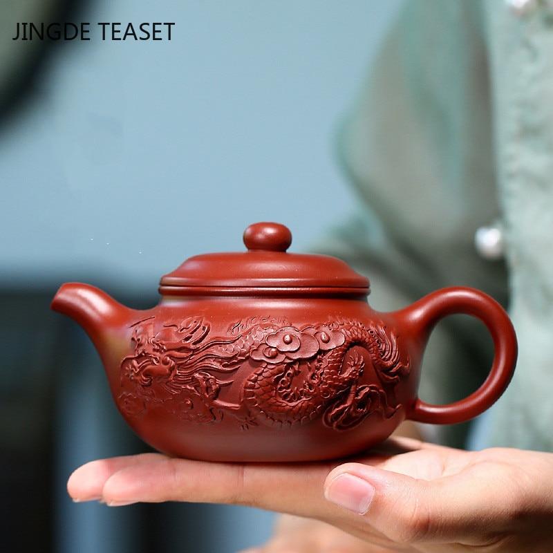 Yixing-إبريق شاي بنمط التنين الأرجواني ، غلاية تجميل ، صناعة يدوية ، 250 مللي