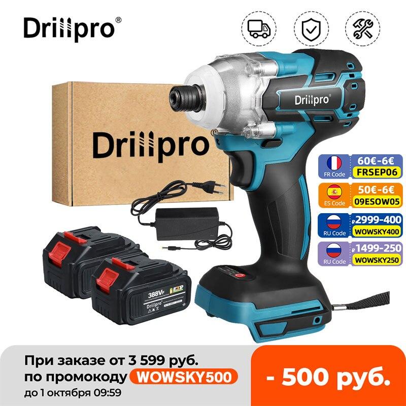 Drillpro 388VF مفك كهربائي بدون فرشاة 1/4 بوصة أدوات كهربائية سائق الحفر + مصباح ليد لبطارية ماكيتا 18 فولت