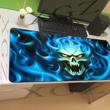XGZ Customized Large Mouse Pad Black Precision Lock Evil Knight Blue Flame Home Computer Desk Mat Rubber Stripes Non-slip Xxl