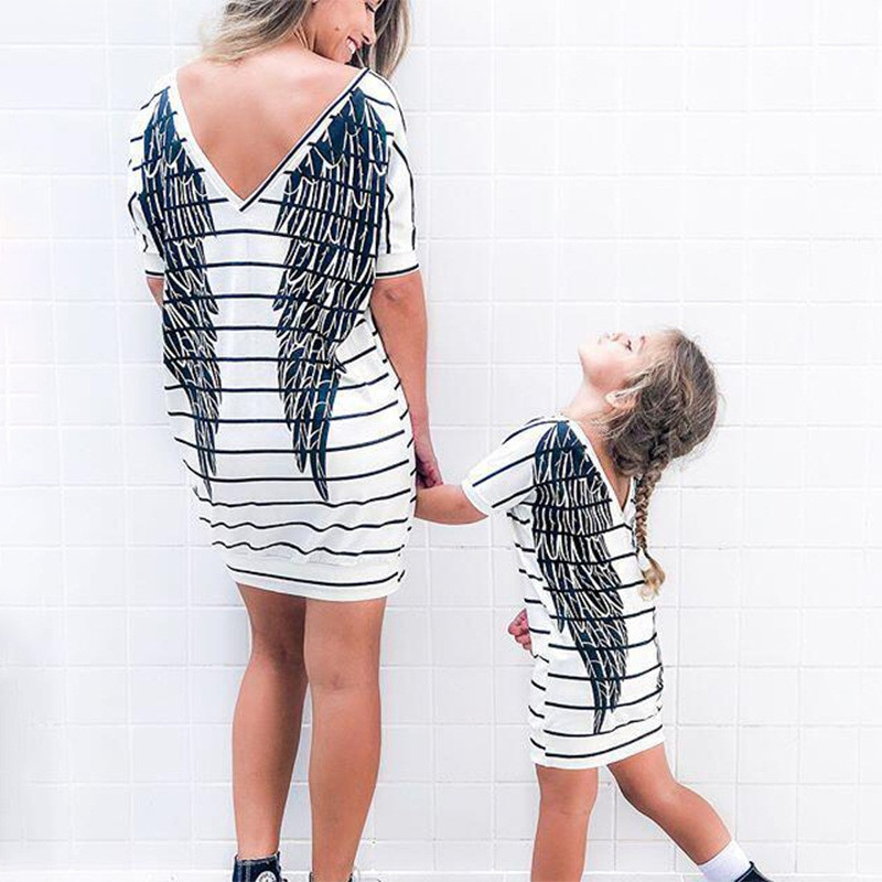 Cotton Mother Daughter Short Sleeve Dress Summer Family Matching Cartoon Wings Print Dress Mommy And Me Casual Clothes Outfit