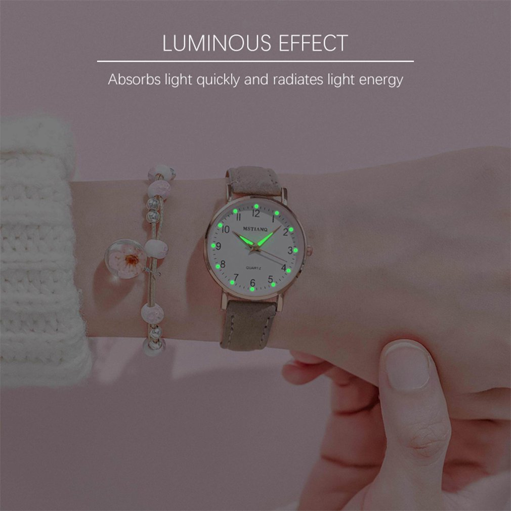 Luminous Watches Women Fashion Casual Leather Belt Watches Simple Ladies' Small Dial Quartz Clock Dr