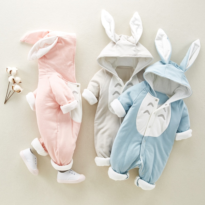 Newborn Baby Autumn and Winter Thickened Warmth One-piece Suit Boys and Girls Baby Cartoon Cute One-piece Baby Crawling Suit