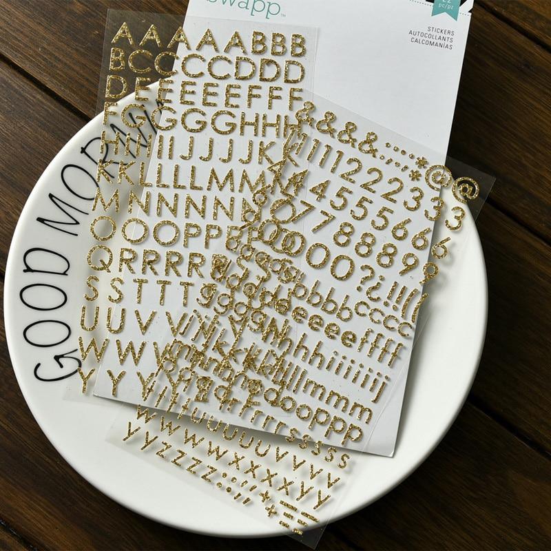 216 Unidades/pacote UV Do Vintage Alfabeto Números Ouro Gilding Etiqueta DIY Scrapbooking Álbum Junk Planejador Diário Adesivos Decorativos