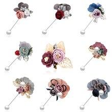 Korean Cloth Art Fabric Flower Brooch Shirt Collar Vintage Pins Handmade Cloth Leaf Bowknot Women Dress Shirt Collar Accessories